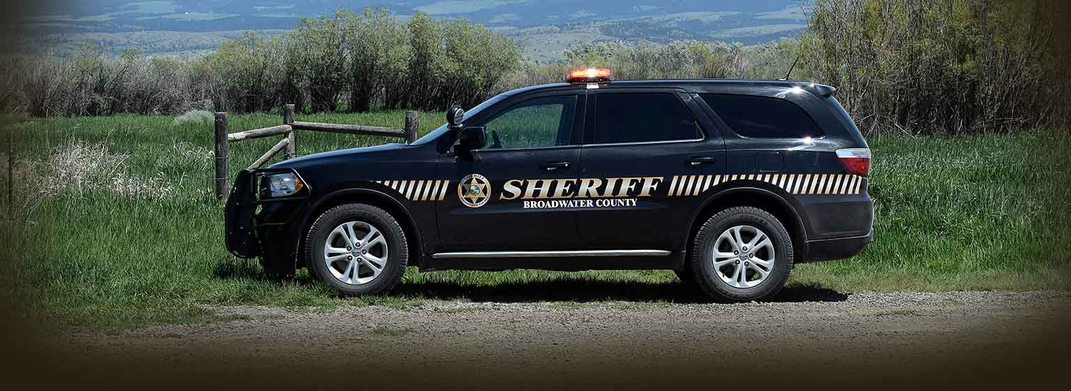 Side of patrol car for Broadwater County Sheriff's Office
