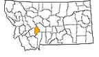 Map showing Broadwater County location within the state of Montana